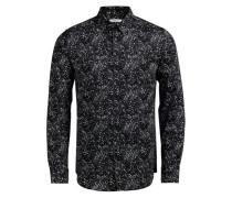 Blumen-Print-Freizeithemd schwarz