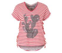 Shirt mit Fransenbesatz mischfarben / rot