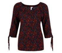 Blusenshirt mit floralem Muster navy / dunkelrot / schwarz