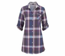 Kariertes Nachthemd mit Hemdkragen und Knopfleiste blau / indigo / helllila