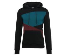 Sweatshirt 'Zig Zag Hoody' petrol / kirschrot / schwarz