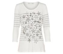 Shirt mit 3/4-Ärmeln grau / weiß