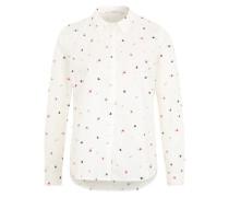 Klassische Bluse mit Muster weiß