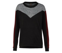 Pullover 'linea' graumeliert / bordeaux / schwarz