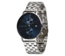 Armbanduhr mit Chronograph blau / silber