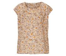 Bluse weich fließend mit allover Print beige / dunkelgelb