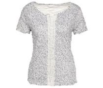 Shirt-Bluse mit floralem Muster dunkelblau / naturweiß