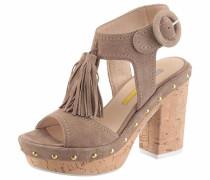 'T-Strap' Sandalette taupe