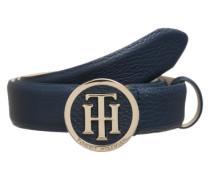 Ledergürtel mit Logo-Schnalle dunkelblau