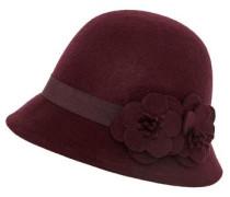 Glockenhut mit applizierten Blüten burgunder