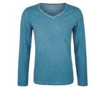 Langarmshirt in Garment Dye türkis