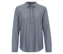 Chambray-Bluse mit Kentkragen blau