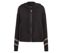 Zipper 'brushed Fleece & Embrodery' schwarz