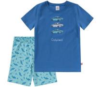 Schlafanzug für Jungen blau / türkis