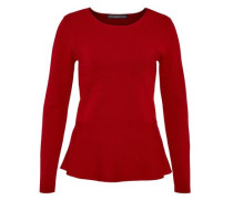 Peplum-Pullover aus Milano-Strick rubinrot
