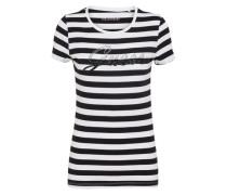 T-Shirt 'shiny Logo Tee' schwarz / weiß