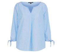 Bluse mit 3/4-Ärmeln hellblau / weiß