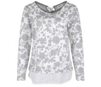 Sweatpullover mit Bluseneinsatz grau / weiß