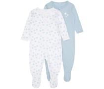 Schlafanzug 2er-Pack blau / naturweiß