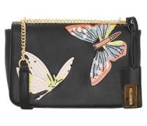 Tasche mit Butterfly-Stickerei schwarz