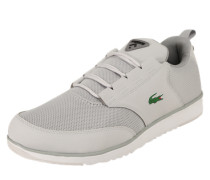 Sneakers mit Materialmix hellgrau
