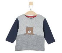 Langarmshirt mit Bärchen-Print nachtblau / braun / grau / weiß