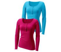 Feinripp-Langarmshirt blau / pink