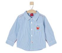 Streifenhemd mit Print hellblau / weiß