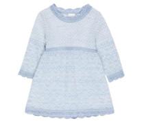 Gestricktes Woll-Kleid blau / naturweiß