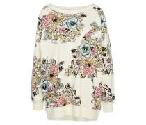 Oversize Sweatshirt 'GO ON Floral' creme / mischfarben