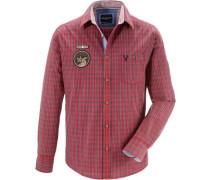 Trachtenhemd mit Stickerei blau / rot