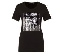 T-Shirt mit Pailletten schwarz