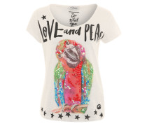 T-Shirt 'Papagei' weiß