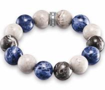 Armband blau / schwarz / silber / weiß