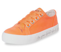 Veganer Plateau-Sneaker orange / weiß