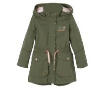 Taillierter Mantel mit rosa Details oliv