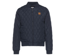 Diamond Quilt Nylon Jacket navy