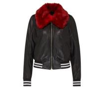 Lederjacke mit abnehmbaren Kragen 'Pretty Cool' rot / schwarz