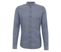 Slim fit Hemd mit Stehkragen taubenblau