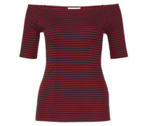 Off Shoulder Shirt 'Krown Stripe' rot