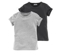 Kurzarmshirt mit Rundhalsausschnitt graumeliert / schwarz
