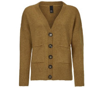 Oversized-Jacke mit Knöpfen senf