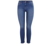Kurz geschnittene Jeans blau
