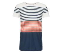 Shirt 'crewneck tee placed stripe' creme / navy / rot
