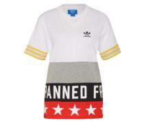T-Shirt mit Print gelb / grau / rot / weiß