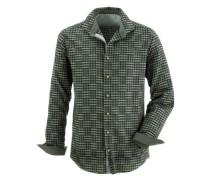 Trachtenhemd Herren mit Kontraststeppung grasgrün / schwarz