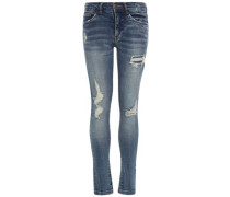 Destroy-Detail-Skinny Fit Jeans blau / dunkelblau