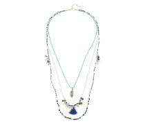Lange Kette 'Pclaila' blau / türkis / silber