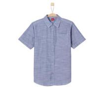 Fein gemustertes Popeline-Hemd taubenblau