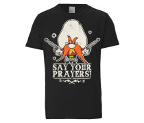 "T-Shirt ""Say Your Prayers"" grau / hellgrau / dunkelorange / schwarz"
